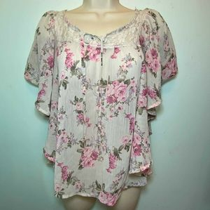 Lovely floral blouse pink and white